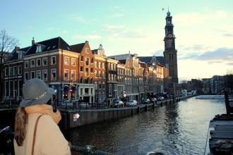 Westerkerk desde el puente Liliegracht. Ámsterdam 2015.