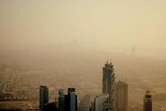 Vistas desde el piso 125 de Burj Khalifa. Dubai, 2015